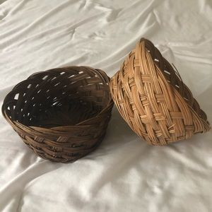 Vintage Set of Two Round Wicker Baskets 7 Inches